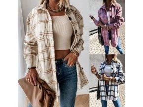 Dámske oblečenie - dámska kockovaná teplá košeľa s veľkými gombíkmi - kabát - výpredaj skladu