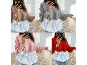 Dámske oblečenie-Dámske svetre - dámsky sveter s košeľou - dámske košele - dámska blúzka