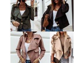 dámske oblečenie - dámska semišová bunda s vreckami a gombíky - jarné bundy - dámske jarné bundy - dámske kabáty