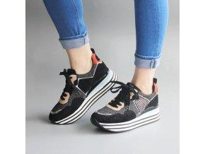Topánky - semišové tenisky na platforme s trblietkami - tenisky - dámske tenisky - darček pre ženu