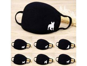 Rúška - pes - rúška - ochranné rúška - bavlnená čierna rúško s potlačou psa - bavlnená rúška