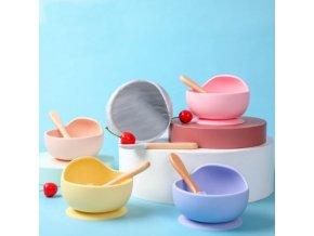 Kuchyňa - miska - detská miska so silikónovou lyžicou - detský riad - výpredaj skladu