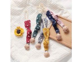 Bábätka - cumlík - drevený klip na cumlík s bodkami - klipy na cumlík - výpredaj skladu