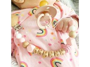 Bábätka - cumlík - drevený klip na cumlík s menom bábätka - hryzátko - hračka pre bábätká - darčeky pre deti
