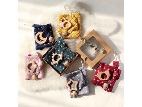 Bábätka - cumlík - krásna sada pre bábätko s bodkami klip na cumlík + hryzátko + uterák - vianočný darček