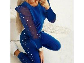 Oblečenie - tepláková súprava - semišová súprava s priehľadnými rukávmi zdobená perličkami - dámske tepláky - mikiny - dámske mikiny