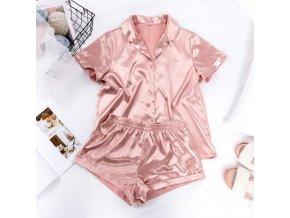 Oblečenie - dámske saténové pyžamo košeľa s krátkym rukávom + kraťasy - dámske pyžamo - saténové pyžamo - dámska spodná bielizeň