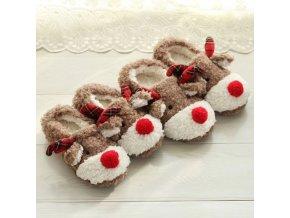 Topánky - dámske vianočné šľapky so sobom - šľapky - dámske šľapky - sob - vianoce