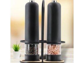 Kuchyňa - elektrický elegantný mlynček na soľ alebo korenie v čiernej farbe - soľnička a korenička - vianočný darček
