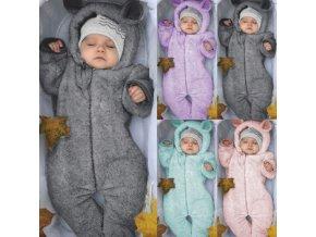 Detské oblečenie - novorodenecká zimná kombinéza s uškami - oblečenie pre bábätká - detská zimná kombinéza