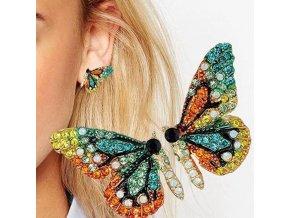 Šperky - náušnice v tvare motýľa s farebnými kamienkami - náušnice - motýle - darček pre ženu