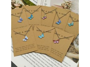 Šperky - retiazka s motýlikom vhodný ako darček - retiazka - motýle - vianočný darček - darček pre ženu