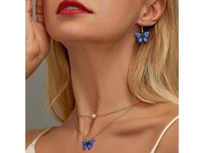 Šperky - retiazka a náušnice s motýlikom - vianočný darček - náušnice - výpredaj skaldi