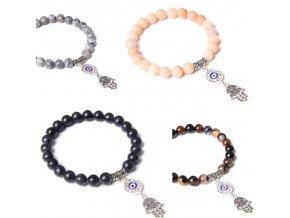 Náramky z minerálov - krásny náramok z minerálu s príveskom ruky hamsa - náramky - darček pre ženu - výpredaj skladu