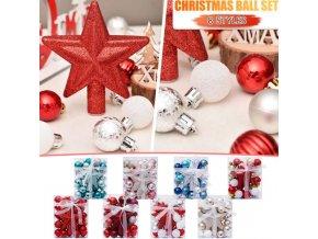 Vianoce - vianočné ozdoby - sada vianočných ozdôb s hviezdou na špičku stromu - vianočné dekorácie - výpredaj skladu