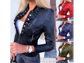 Oblečenie - dámske krásna koženková bunda so zdobením -kožené bundy-Dámske jarné bundy - výpredaj skladu