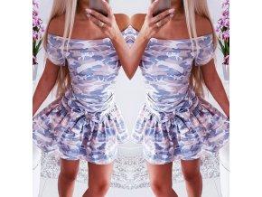Oblečenie - šaty - dámske letné šaty v maskáčovom vzore so spadnutými ramenami - dámske šaty - letné šaty - dámske letné šaty