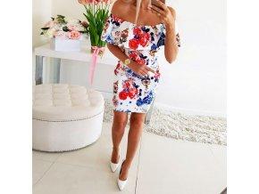 Oblečenie - šaty - letné upnuté šaty so spadnutými ramenami a potlačou kvetín - letné šaty - dámske šaty - letné dámske šaty