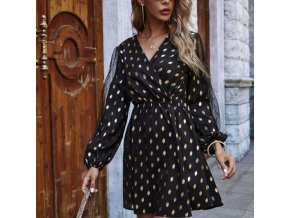 Oblečenie - šaty - dámske krásne bodkované šaty s krásne zdobenými rukávmi - dámske šaty - letné šaty