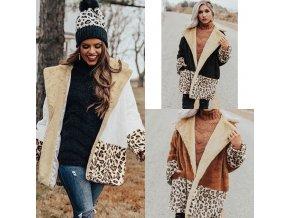 Oblečenie - kabáty - jesenné plyšový kabát s leopardím vzorom - dámske zimné kabáty - zimné kabáty - darček pre ženu