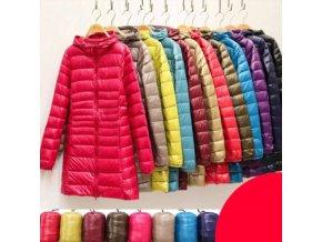 Oblečenie - bunda - dámska páperová bunda s kapucňou vo viacerých farbách - nadmerné veľkosti - zimné bundy
