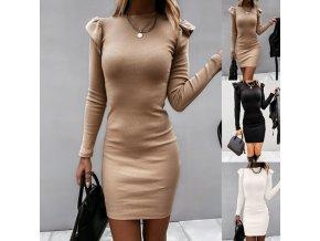 Oblečenie - šaty - krásne upnuté šaty s volánikmi na ramenách - dámske šaty