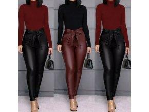 Oblečenie - nohavice - dámske koženkové nohavice s vysokým pásom na zaväzovanie-Dámske nohavice - výpredaj skladu