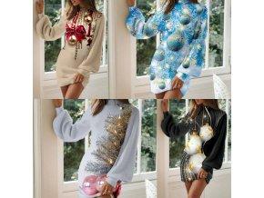 Oblečenie - šaty - dámske svetrové šaty s vianočným potlačou a naberanými rukávmi - dámske šaty šaty šaty zdobiť zdobit  - vianoce - vianočné šaty