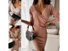 Oblečenie - šaty - dámske upnuté šaty so zaujímavo riešeným výstrihom - dámske šaty - darček pre ženu