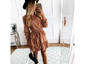 Oblečenie - šaty - dámske bodkované modne šaty s rolákom - dámske šaty - spoločenské šaty - výpredaj skladu