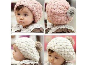 Detské oblečenie - čiapky - detská pletená čiapočka s brmbolcami - zimné čiapky - vianočný darček - výpredaj skladu
