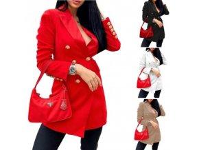 Oblečenie - kabát - dámsky módny ľahký kabát zdobený zlatými gombíkmi - dámsky kabát - dámsky zimný kabát - darček pre ženu
