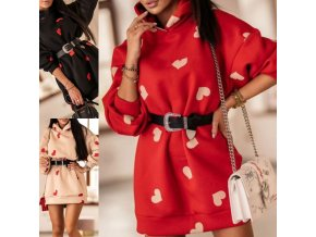 Oblečenie - šaty - mikinové šaty s potlačou srdiečok a kapucňou - dámske šaty - mikinové šaty - dámske mikiny