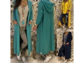 Oblečenie - dámske svetre - dámsky svetrové pletený kabát s kapucňou - kabát - dámsky kabát - vianočný darček