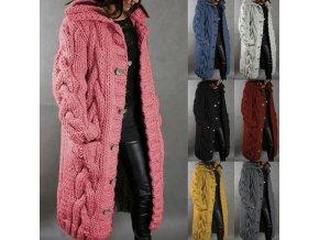 Oblečenie - dámsky pletený kabát s gombíkmi - dámske svetre - pletené svetre - kabát - dámsky zimný kabát
