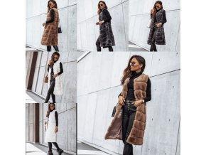 Oblečenie - vesta - dámska dlhá zimná chlpatá vesta - dámske vesty - vianočný darček
