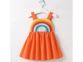 Detské oblečenie - dievčenské letné šaty na ramienka s dúhou - šaty - letné šaty