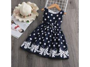 Detské oblečenie - dievčenské tmavo modré bodkované šaty s mašľami - šaty - spoločenské šaty - vianočný darček
