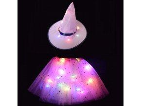 Detské oblečenie - detský kostým svietiace sukňa + klobúk - klobúk - detský kostým - sukňa