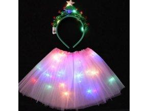 Dětské oblečení - dětský vánoční kostým svítící kostým + vánoční čelenka - vánoce - klobouk - dětský kostým - sukně