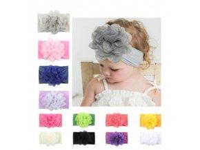 Dětské oblečení - krásná čelenka pro holčičku v různé barvy s velkou kytkou - čelenka do vlasů - výprodej skladu