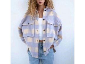 Oblečenie - košeľa - dámska zateplená kockovaná košeľa s veľkými vreckami - kabát - dámsky kabát
