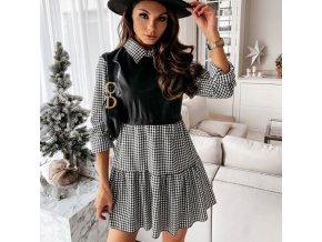 Oblečenie - šaty - krásne módne šaty zdobené koženkou a golierikom - dámske šaty - Košele šaty - darček pre ženy