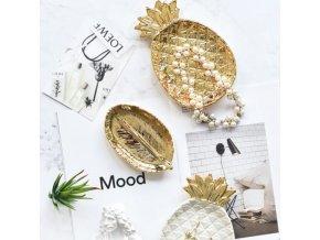 Dekorácie - dekoračné tácka v tvare listu a ananásu - ananás - kuchyne