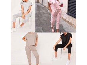 Oblečenie - dámsky pohodlný set tepláky + tričko - dámske tepláky - tričká - dámske tričká