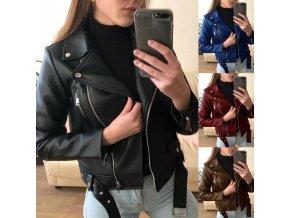 Oblečenie - dámska koženková bunda krivák s pásikom - výpredaj skladu - nadmerná veľkosť - dámska koženková bunda