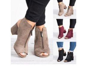 Topánky - dámske topánky - dámske sandále na podpätku so zipsom - výpredaj skladu - topánky na podpätku