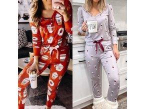 Oblečenie - dámske pyžamo dlhé nohavice + triko - pyžamo - darček pre ženu - víno