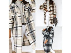 Oblečenie - kabát - dámsky módny kockovaný kabát - dámska zimný kabát - dámsky kabát - vianočný darček