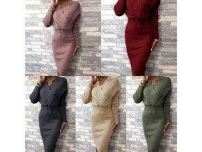Oblečenie - šaty - dámske svetrové dlhé šaty so stiahnutým pásom - dámske šaty - svetrové šaty